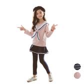 海軍風條紋上衣+褲裙 套裝 大童 條紋上衣 套裝 橘魔法 女童 現貨 兒童 童裝