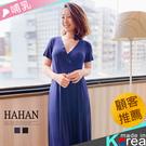 【HC5126】開釦交叉領 絲質棉哺乳洋裝