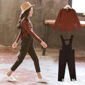 女童背帶褲套裝 女童背帶褲春秋裝套裝中大兒童洋氣兩件套潮 qf20691【黑色妹妹】