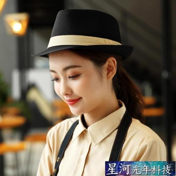 工作帽 禮帽卷邊帽英倫風服務員工作帽子咖啡色餐飲店員工裝帽子黑色定制 星河光年