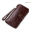 真皮長夾-高質感大容量頭層牛皮男錢包手拿包手機包 -附手腕帶 AngelNaNa (SMA0281)