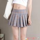 超短裙超短裙女格子百摺裙無安全褲內襯高腰半身裙子矮個子嬌小迷你夏季 愛丫