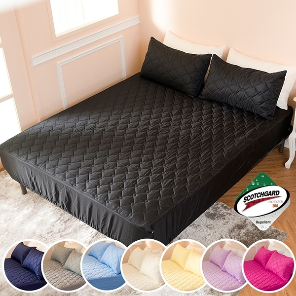 ∥加大床包∥透氣防潑水技術處理床包式保潔墊 MIT台灣精製《黑色》