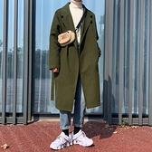 風衣外套男韓版長款加厚潮流寬鬆呢子大衣