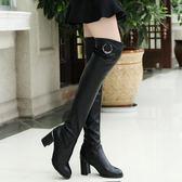 瘦腿彈力靴粗跟中跟高筒女士長筒女靴
