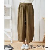 【Tiara Tiara】東南亞民俗風垂墜感長寬褲(藍/綠)