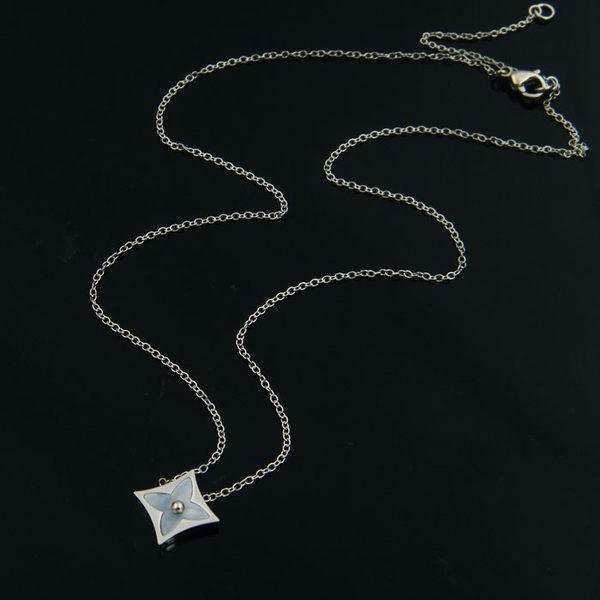 316L醫療鋼 菱方形 四葉幸運草 海貝殼 鎖骨項鍊-銀 防抗過敏 不退色