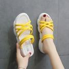 網紅拖鞋女夏外穿厚底2020新款夏季ins百搭夏天鬆糕潮時尚涼拖鞋  免運快速出貨