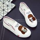 時尚可愛手繪鞋一腳蹬帆布鞋休閒女鞋...白色6款...流行線