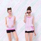 ★奧可那★輕便式粉紅條紋繫腰泳衣(圖右)...