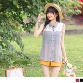 《AB15015-》輕甜鏤空蕾絲格紋背心式襯衫上衣 OB嚴選