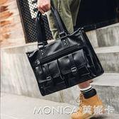手提包  休閒韓版男包多口袋男士手提包公文包出差電腦包橫款皮質男包潮 莫妮卡小屋