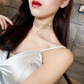項歐美金色性感隱形頸chocker鎖骨女脖子飾品頸帶韓國短款【免運+滿千折百】