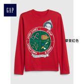 Gap男童 印花圓領長袖T恤 399014-摩登紅色