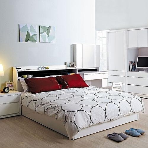凡斯5尺雙人床組-床頭+床底(21CS3/341-1+CF1/白色6分木芯板5尺高床底)/H&D東稻家居