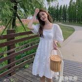 流行洋裝 超仙白色初戀裙2020新款泡泡袖洋裝女夏小白裙氣質法式甜美裙子 米蘭潮鞋館