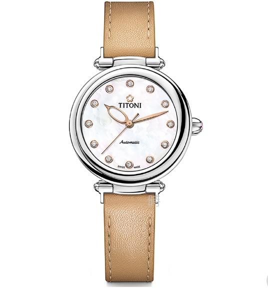 TITONI 梅花麥 瑞士 時尚機械錶 (23978 S-STC-622) 快拆式/奶茶色