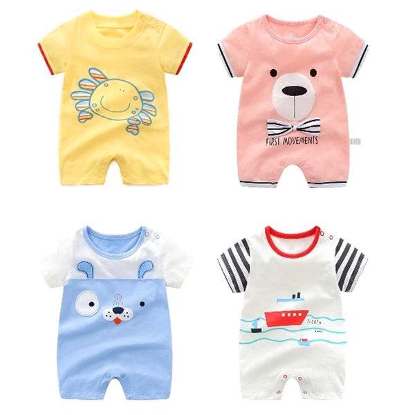 短袖連身裝 動物卡通連身衣 男寶寶 棉質嬰兒服 春夏兔裝 CAR22321 好娃娃