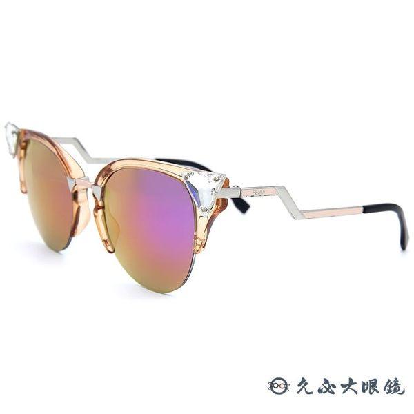 FENDI 墨鏡 小惡魔 FF0041S (透橘-銀) 鑲鑽 貓眼 水銀 太陽眼鏡 久必大眼鏡