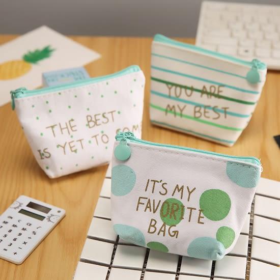 零錢包 收納包 小錢包 防水 硬幣包 鑰匙包 卡包 批發 韓國 綠色簡約印花零錢包【P525】 慢思行