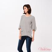 Victoria 拼接袖變化七分袖T恤上衣-女-白底黑條/黑色-V85409