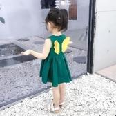 超洋氣女童公主裙小童夏裝新款寶寶可愛背心純棉翅膀洋裝潮中秋節全館免運