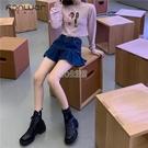 牛仔半身裙女2021年春夏新款韓版高腰顯瘦百褶裙百搭短款a字裙子 快速出貨 快速出貨