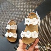 快速出貨-兒童涼鞋童鞋女童涼鞋夏季新品寶寶兒童正韓平底花朵公主鞋防滑沙灘鞋