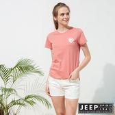 【JEEP】女裝 簡約素面短袖TEE-珊瑚粉