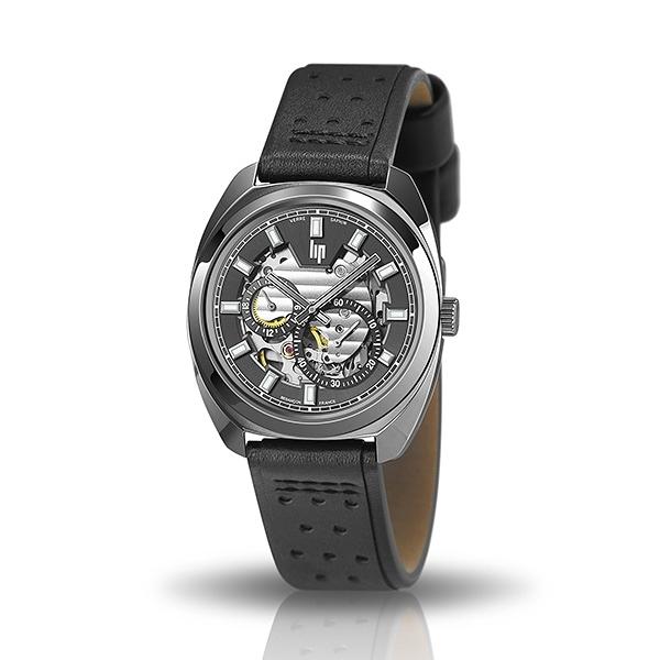 【lip】General De Gaulle法國總統時尚鋼帶機械腕錶-沉穩黑/671364/台灣總代理公司貨享兩年保固