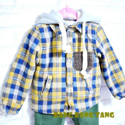 ☆棒棒糖童裝☆韓國童裝 Witty Boy  2穿可拆帽舖厚棉格子棉衫