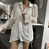 韓版chic收腰顯瘦長袖襯衫女夏季新款寬鬆百搭中長款防曬上衣     麥吉良品
