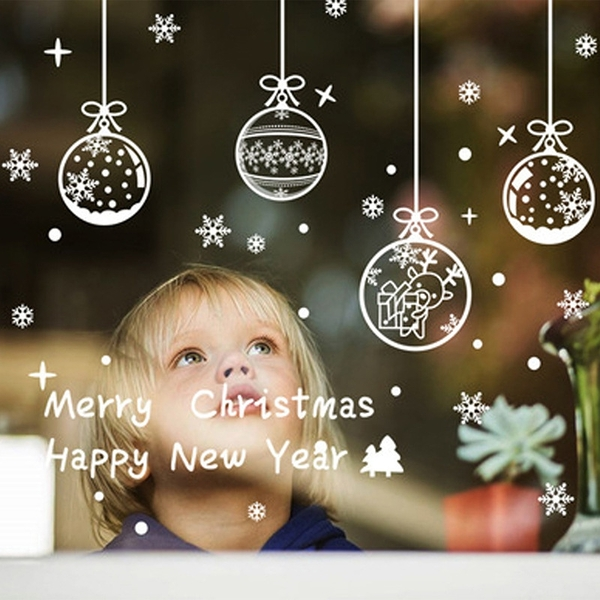 聖誕裝飾品玻璃靜電貼紙耶誕節派對裝飾雪花窗貼聖誕吊球 款式隨機出貨