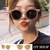 OT SHOP太陽眼鏡‧歐美韓系時尚中性復古網?同款街頭街拍圓框奶油摩卡膠框墨鏡‧現貨‧U98
