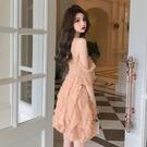 細肩帶辣妹洋裝 夏季新款甜美性感吊帶裙子很仙的法國小眾收腰禮服連身裙