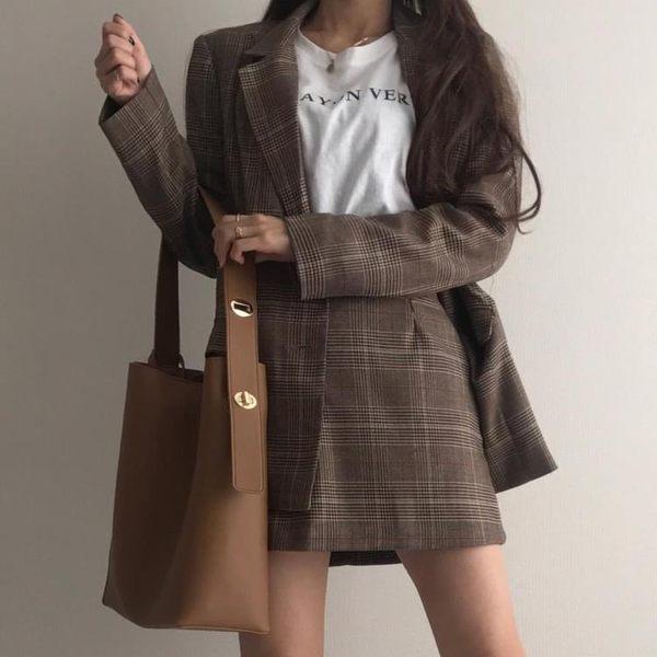 韓國東大門同款簡約側背水桶包同款斜背大包包 奇思妙想屋