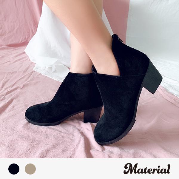 短靴 絨布側V開口短靴 MA女鞋 T0590