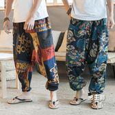 海灘褲夏季亞麻闊腿褲男寬鬆大尺碼泰國褲子燈籠褲旅游海灘褲尼泊爾掉檔褲(免運)