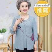 尾牙年貨節母親節老年裝女夏天衣服套裝媽媽裝中袖60-70歲老人奶奶夏裝襯衫gogo購
