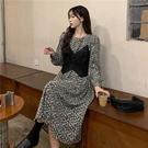 大碼長袖洋裝 連身裙 禮服新款顯瘦碎花長袖連身裙馬甲兩件套裝2F041-C胖妹