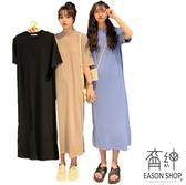 EASON SHOP(GW3001)實拍純棉下襬側開衩長版OVERSIZE孕婦裝圓領短袖連裙洋裝女上衣服長裙過膝裙