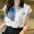 短袖雪紡衫女夏裝新款港風上衣個性印花襯衫設計感寬松顯瘦襯衣薄