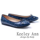 ★2017秋冬★Keeley Ann甜美氣息~蝴蝶結菱紋水鑽點點全真皮平底娃娃鞋(藍色)