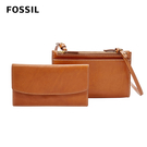 FOSSIL SAGE 多夾層兩用真皮小包-焦糖色 SLG1004798