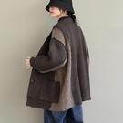 純棉拼色針織開衫 V領單排扣長袖毛衣外套/4色-夢想家-0118