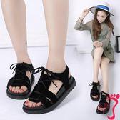 夏季新款平底低跟平跟松糕跟厚底羅馬鞋系帶女涼鞋學生鞋女鞋