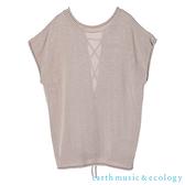 「Spring」後繫帶圓領短袖針織背心上衣 - earth music&ecology