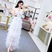 2018夏季新款韓版甜美花朵歐根紗刺繡吊帶背心高腰蛋糕半身裙套裝