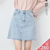 短裙 雙釦帶裝飾腰圍鬚邊牛仔A字裙M-XL號-BAi白媽媽【305090】
