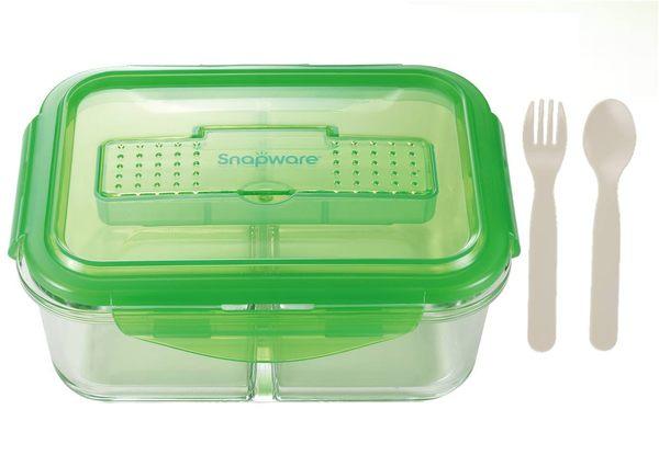 【康寧】分隔玻璃保鮮盒長方990ml附匙叉
